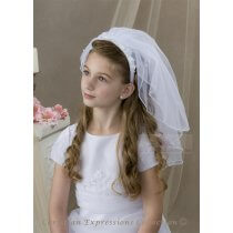 Pearl and Flowers First Communion Headband Veil