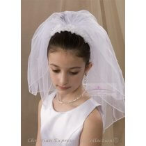 First Communion Headband Veil  Organza Flowers