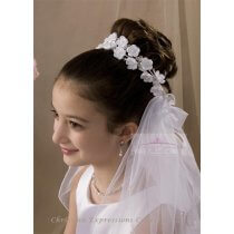 First Communion Bun Wrap Veil Style Jillian