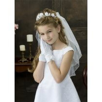 First Communion Bun Wrap Veil Style Samantha