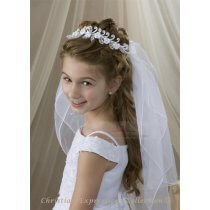 First Communion Wreath Veil Satin Roses and Pearls