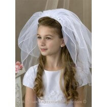 Girls First Communion Headband Veil with Lace Flowers and Rhinestones