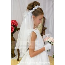 First Communion Bun Wrap Veil Style Diana