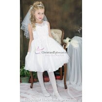 Organza Tea Length Designer Girls First Communion Dresses