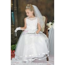 Organza Beaded Satin First Communion Dress size 8