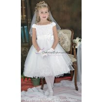 Gathered Neckline Ballerina First Communion Dresses Size 7