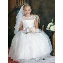 Girls White First Communion Dress with Lace Rhinestone Beading