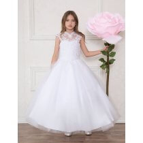 First Communion Dress Lace V Neck Beaded Halter Bodice