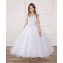 First Holy Communion Dress Full Length Beaded  V Neck Halter Bodice